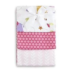 NoJo Infant Girl's 3-Pack Receiving Blankets - Tumble Jungle