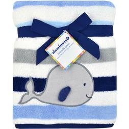 NTW GARANIMALS BABY BLANKET GRAY WHALE BLUE WHITE STRIPES 3-