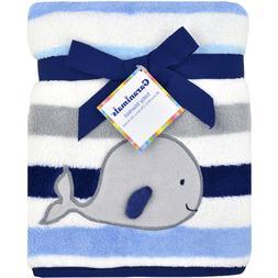 NTW  GARANIMALS BABY BLANKET GRAY WHALE BLUE WHITE STRIPES 3
