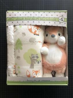 NWOT FOX Blankets & Beyond Plush Blanket Set Rattle Baby Tod