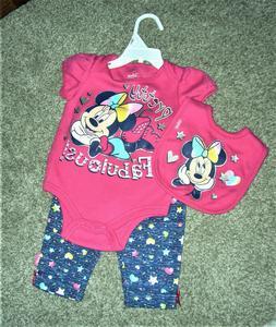 NWOT Infant Girls Disney Baby 3pc Outfit Pants Shirt Bib Min