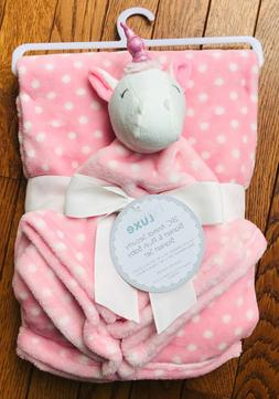 NWT BABY LUXE 2 PC PINK UNICORN/DOT LOVEY &  BABY BLANKET SE