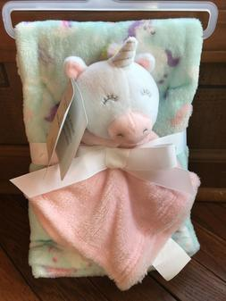 NWT BABY KISS   2PC BABY BLANKET/SECURITY BLANKET UNICORN PR