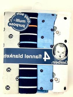 NWT 4-Pack Gerber Baby Boy Sports Cotton Flannel Newborn Rec