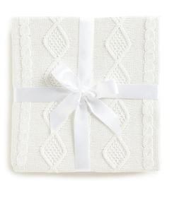 """NWT EDGEHILL COLLECTION Baby Blanket 30"""" x 40"""" Cable Knit Cr"""