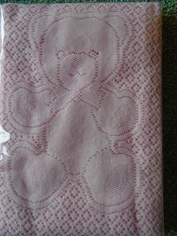 NWT Baby Blanket Pink Bear Cotton Soft Scotland Land's End T