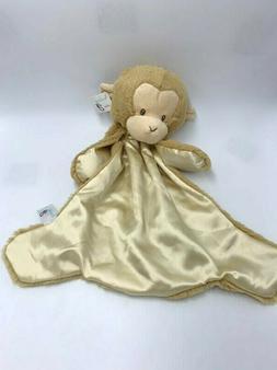 NWT Baby G By Gund Tan Monkey Snuggle Security Blanket Satin