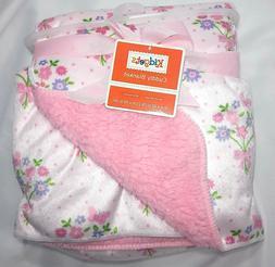 NWT Baby Girl KIDGETS Floral Plush Blanket Lovey Pink Sherpa