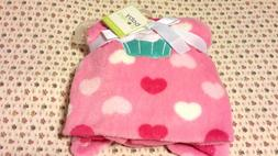 NWT BABY STARTERS Baby Girl Pink Fleece Blanket w/ Heart Cup