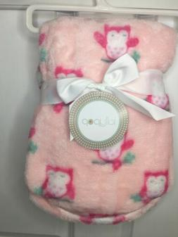 NWT Baby Girls Pink Owl Theme Plush Blanket Lollypop Brand