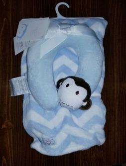 NWT Cozy Baby blanket blue white zig zag chevron striped mon