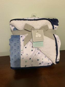 NWT Just Born Blue Gray White Stars Patchwork Popcorn Dots S