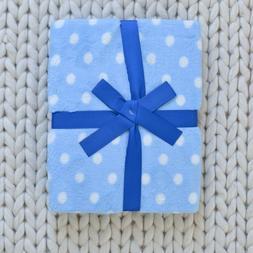 NWT Little Starter Blue Polka Dot Plush Baby Boy Blanket