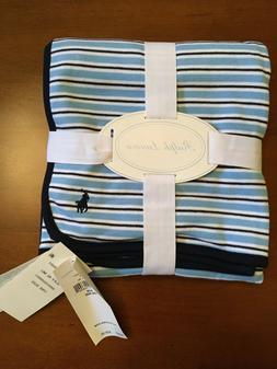 NWT Ralph Lauren Boy's Blue/Navy Striped Cotton Baby Blanket