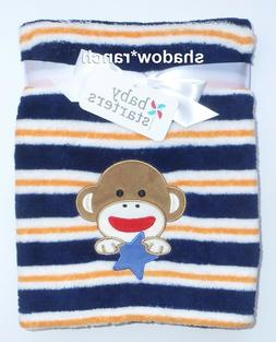 ~NWT Boys BABY STARTERS Sock Monkey Striped Soft Blanket! Cu