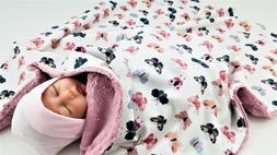 NWT Butterfly Minky Baby Blanket Girl Nursery Pink Blue Bedd