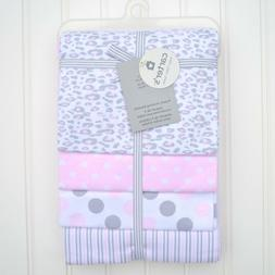 NWT Carter's 4 Pack Baby Girl Receiving Blankets Pink Gray C