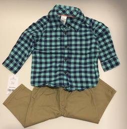 NWT Carter's Baby Boy's 2-Piece Plaid Long Sleeve Shirt & Kh
