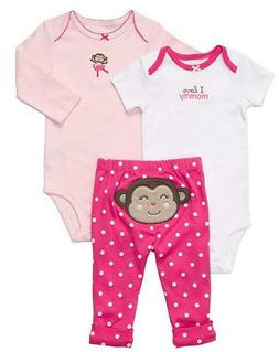 NWT Carter's Baby Girls 3 Piece Bodysuit Pant Set Clothe Pin