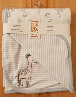 NWT Carter's Just One You Giraffe Baby Blanket Blue White Gr