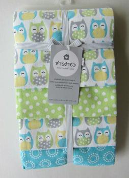 NWT Carter's Owl Flannel 4 Pack Baby Receiving Blankets Yell
