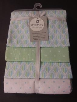 NWT CARTER'S Receiving Blankets, 4-Pack, Blue/ Green/ White