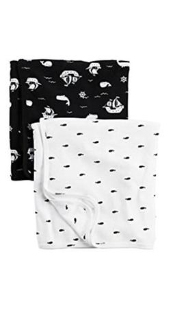 New NWT Carters Boy Black White Whale Pirate Ship Set 2 Pack