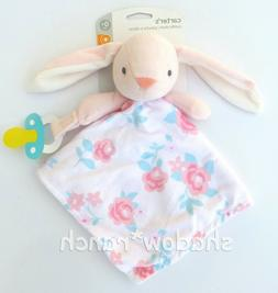 NWT Carters Pink Bunny Rabbit Floral Flowers Security Blanke