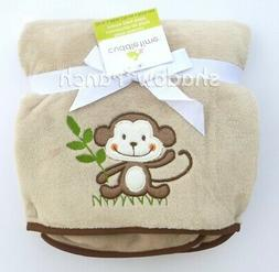 NWT Cuddletime Cuddle Time Monkey Blanket Brown Tan Plush Ba