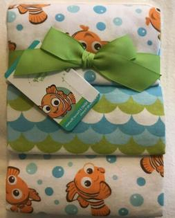 NWT Disney Baby  Finding Nemo 3 Flannel Swaddle Receiving Bl