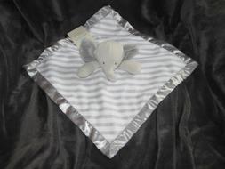 NWT Cloud Island Elephant Baby Blanket Gray White Stripe Sec