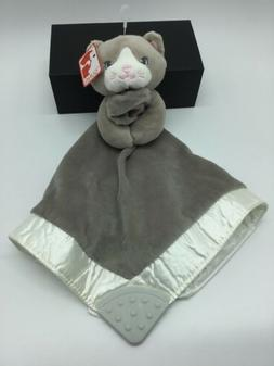 NWT Gund Gray Kitty Cat Baby Security Blanket Teether Velour