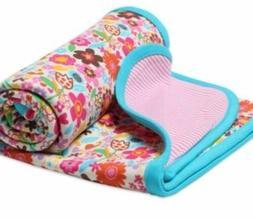 NWT Zutano Infant Girl Striped Floral Reversible Crib 100% C