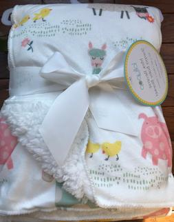 NWT LOLLYPOP WHITE/PINK/MINT ANIMAL REVERSIBLE BABY BLANKET