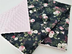 NWT Minky Baby Blanket Gray Pink Floral Girl Nursery Bedding