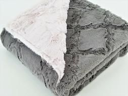 NWT Minky Baby Blanket Luxurious Gray/Pale Pink Nursery Girl