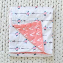 NWT Modern Baby Girl Blanket Coral Deer Floral Arrows