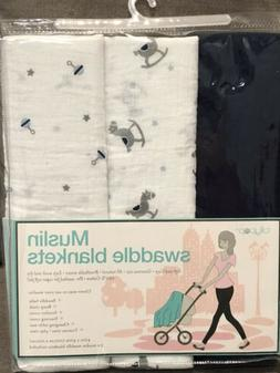 NWT Lollypop Muslin Swaddle Blankets Set of 3, Blue, Rattle,