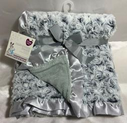 """NWT Parent's Choice Luxury Rosette Baby Blanket Gray 30""""x4"""
