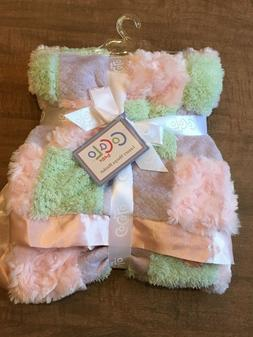 NWT CoCalo Patchwork Baby Blanket Pink Purple Green Minky Sa