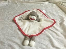 NWT Baby Starters Plush Brown Sock Monkey Red Cream Satin Se