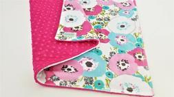 NWT Poppies Minky Baby Blanket Pink Aqua Mint Girl Nursery B