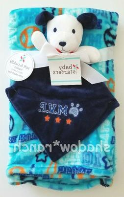 NWT Baby Starters Puppy Dog Baseball MVP Security Blanket Bl