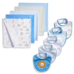 NWT Set of 10 Baby Bibs & Receiving Blankets Boy Blue Safari