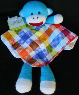 NWT Sock MONKEY Security Blanket Lovey SNUGGLE BUDDY Toy Bab