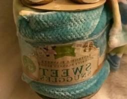 Little Miracles NWT soft Baby Blanket Orange Blue Sweet Snug