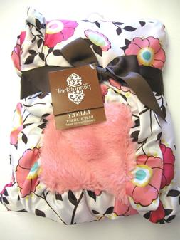 """NWT THE """"PEANUT SHELL""""  BABY BLANKET FLORAL Reversible Satin"""