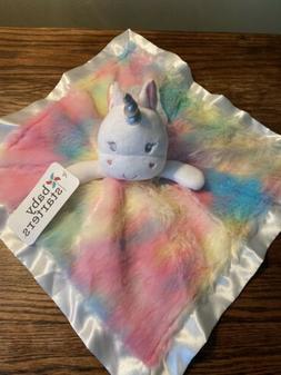 NWT Baby Starters Unicorn Security Blanket Pastel Plush Sati