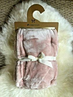 NWT Mon Lapin Velvet Baby Blanket. Pink. Reversible. Super S
