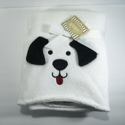 NWT Baby Starters White Blanket Puppy Dog Face Black Ears Re